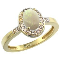 0.61 CTW Opal & Diamond Ring 10K Yellow Gold - REF-31R3H