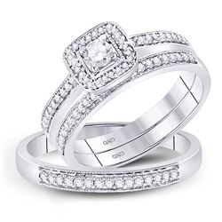 1/2 CTW His & Hers Round Diamond Solitaire Matching Bridal Wedding Ring 10kt White Gold - REF-45Y6X