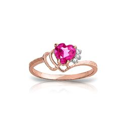 Genuine 0.97 ctw Pink Topaz & Diamond Ring 14KT Rose Gold - REF-30W3Y