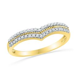 1/4 CTW Round Diamond Chevron Ring 10kt Yellow Gold - REF-20F3M