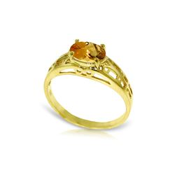 Genuine 1.15 ctw Citrine Ring 14KT Yellow Gold - REF-32F3Z