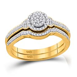 1/4 CTW Round Diamond Cluster Bridal Wedding Engagement Ring 10kt Yellow Gold - REF-21K5R