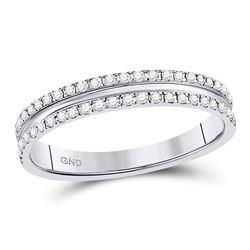 1/4 CTW Round Diamond Double Row Comfort Wedding Ring 14kt White Gold - REF-33F3M