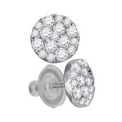 1 CTW Round Diamond Cluster Earrings 14kt White Gold - REF-71R9H