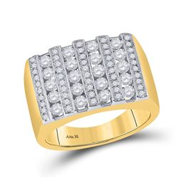1 & 1/2 CTW Mens Round Channel-set Diamond Square Stripe Cluster Ring 14kt Yellow Gold - REF-162R3H