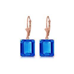 Genuine 13 ctw Blue Topaz Earrings 14KT Rose Gold - REF-54H2X