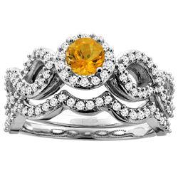 0.92 CTW Citrine & Diamond Ring 14K White Gold - REF-93F2N