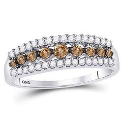 1/2 CTW Round Brown Diamond Ring 14kt White Gold - REF-27M3A