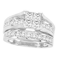 2 CTW Princess Diamond Bridal Wedding Engagement Ring 14kt White Gold - REF-179M9A
