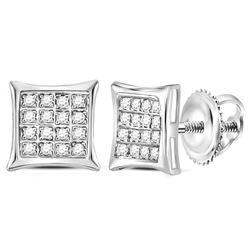 1/10 CTW Round Diamond Square Kite Cluster Stud Earrings 14kt White Gold - REF-9F6M