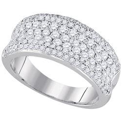 1 & 1/3 CTW Round Diamond Anniversary Ring 14kt White Gold - REF-120N3Y