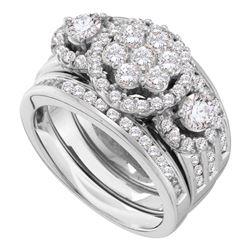 2 CTW Round Diamond 3-Piece Bridal Wedding Engagement Ring 14kt White Gold - REF-215X9T