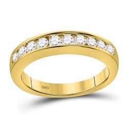 1/2 CTW Round Diamond Wedding Channel Set Ring 14kt Yellow Gold - REF-47X9T