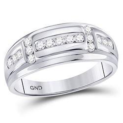1/2 CTW Mens Round Diamond Channel-set Wedding Ring 10kt White Gold - REF-47X9T