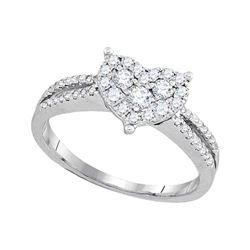 1/2 CTW Round Diamond Heart Cluster Split-shank Ring 14kt White Gold - REF-51Y5X