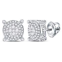 1/2 CTW Round Diamond Circle Frame Cluster Earrings 14kt White Gold - REF-47K9R