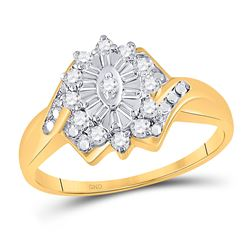 1/4 CTW Round Diamond Cluster Ring 10kt Yellow Gold - REF-15K5R