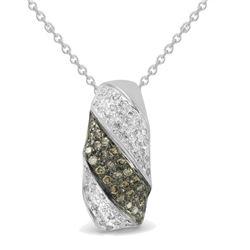 0.37 CTW Brown & White Diamond Pendant 14K White Gold - REF-35K6W