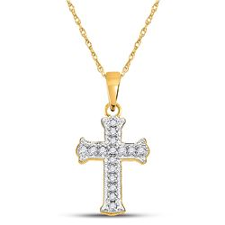 1/12 CTW Round Diamond Cross Pendant 10kt Yellow Gold - REF-5Y9X