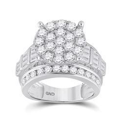 3 CTW Round Diamond Cluster Bridal Wedding Engagement Ring 10kt White Gold - REF-179H9W