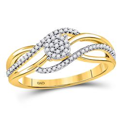 1/6 CTW Round Diamond Open Strand Cluster Ring 10kt Yellow Gold - REF-15X5T