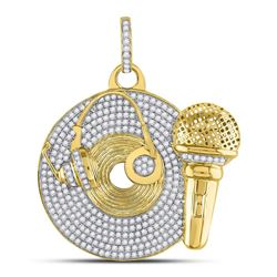 3 CTW Mens Round Diamond Recording Artist Mic Record Charm Pendant 10kt Yellow Gold - REF-209A9N