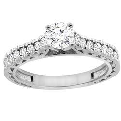 0.70 CTW Diamond Ring 14K White Gold - REF-116M9K