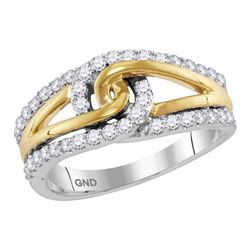1/2 CTW Round Diamond Lasso Loop Knot Ring 10kt Two-tone White Gold - REF-41T9K