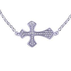 0.09 CTW Diamond Necklace 14K White Gold - REF-19Y2X