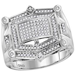 1/2 CTW Mens Round Diamond Rectangle Cluster Studded Ring 10kt White Gold - REF-57A5N