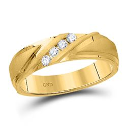 1/6 CTW Mens Round Diamond Wedding Ring 10kt Yellow Gold - REF-39T3K