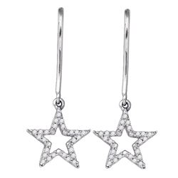 1/5 CTW Round Diamond Star Dangle Earrings 10kt White Gold - REF-15T5K