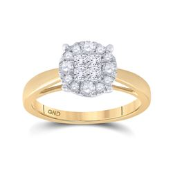 1/2 CTW Princess Diamond Bridal Wedding Engagement Ring 14kt Yellow Gold - REF-57N3Y
