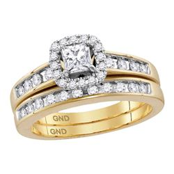 3/4 CTW Diamond Princess EGL Bridal Wedding Engagement Ring 14kt Yellow Gold - REF-99W3F