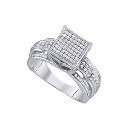 3/8 CTW Round Diamond Square Bridal Wedding Engagement Ring 10kt White Gold - REF-30F3M