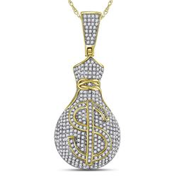 1 CTW Mens Round Diamond Money Bag Dollar Sign Charm Pendant 10kt Yellow Gold - REF-65N9Y