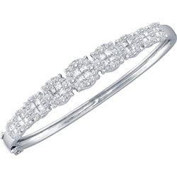 3 CTW Princess Round Diamond Bangle Bracelet 14kt White Gold - REF-311M9A