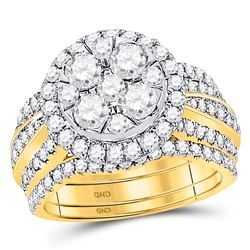 2 & 1/2 CTW Round Diamond 3-Piece Bridal Wedding Engagement Ring 14kt Yellow Gold - REF-239X9T