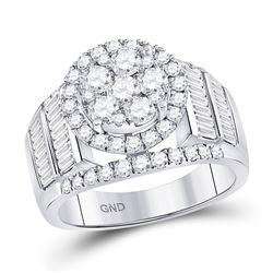 1 & 7/8 CTW Round Diamond Cluster Bridal Wedding Engagement Ring 14kt White Gold - REF-143W9F
