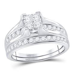 1 CTW Princess Diamond Bridal Wedding Engagement Ring 14kt White Gold - REF-83F9M