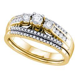 1/2 CTW Round 3-stone Diamond Wedding Bridal Engagement Ring 14kt Yellow Gold - REF-65Y9X