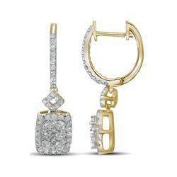 7/8 CTW Round Diamond Rectangle Dangle Hoop Earrings 14kt Yellow Gold - REF-87F5M