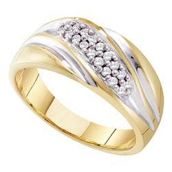 1/4 CTW Mens Round Pave-set Diamond Diagonal Double Row Wedding Ring 10kt Yellow Two-tone Gold - REF