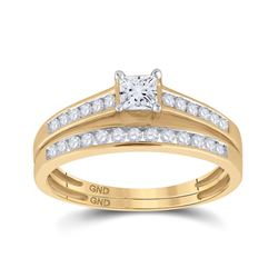 1/2 CTW Princess Diamond Bridal Wedding Engagement Ring 10kt Yellow Gold - REF-39X5T