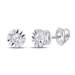 1/10 CTW Round Diamond Solitaire Illusion-set Stud Earrings 10kt White Gold - REF-10N8Y