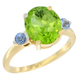 3.02 CTW Peridot & Blue Sapphire Ring 14K Yellow Gold - REF-36M3A
