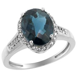 2.60 CTW London Blue Topaz & Diamond Ring 14K White Gold - REF-55R5H