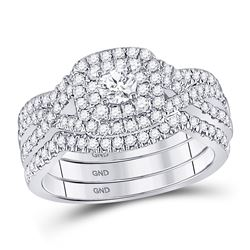 7/8 CTW Round Diamond Bridal Wedding Engagement Ring 14kt White Gold - REF-132M3A