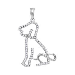 1/5 CTW Round Diamond Animal Dog Puppy Pendant 10kt White Gold - REF-16X8T