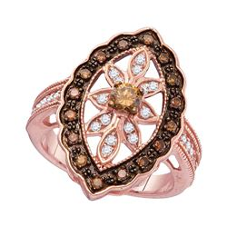 3/4 CTW Round Brown Diamond Oval Frame Ring 10kt Rose Gold - REF-51W5F